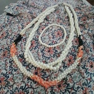 Jewelry - 2 Twisted Faux Pearl Necklaces w/ Bracelet Set